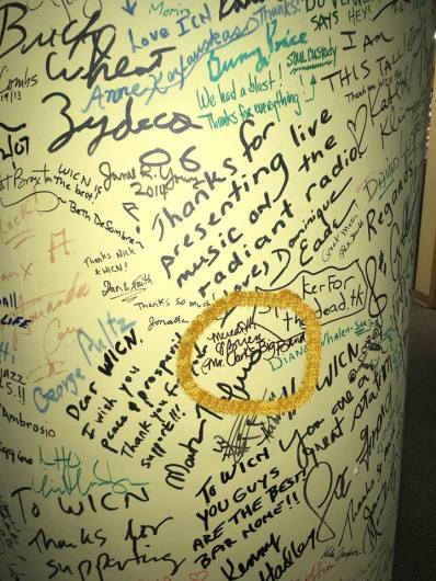 I signed the post in the WICN lobby.