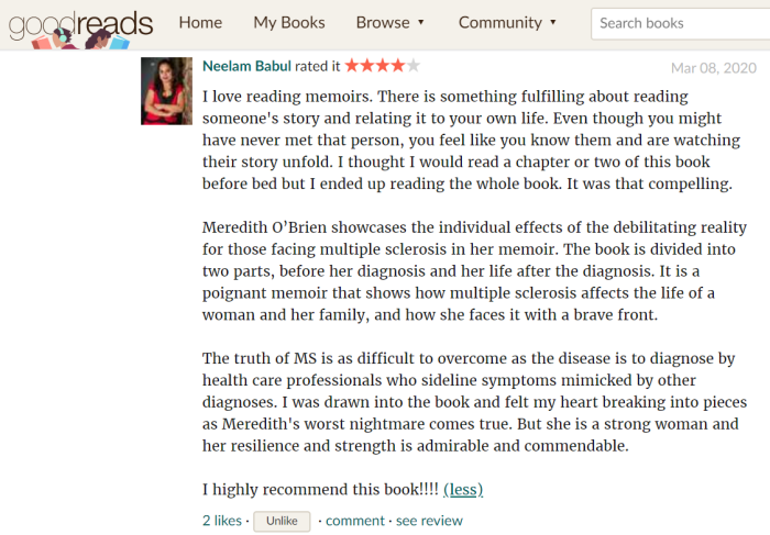 Uncomfortably Numb GoodReads review